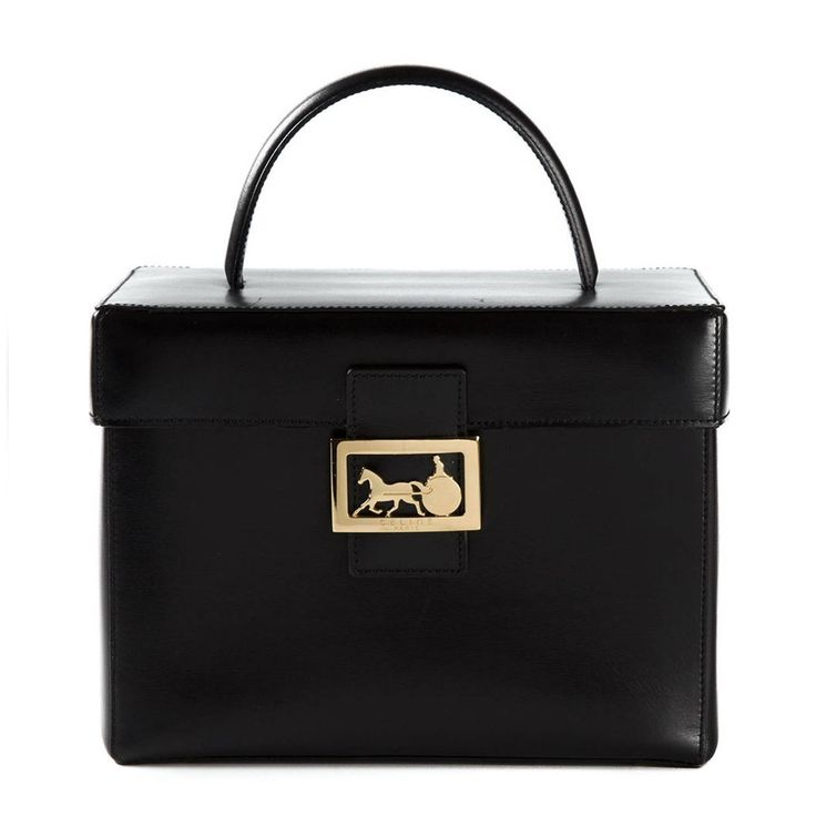 Céline Vintage Black Vanity Case | From a collection of rare vintage handbags and purses at https://www.1stdibs.com/fashion/handbags-purses-bags/