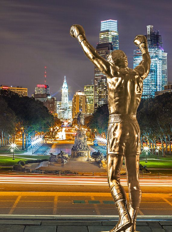 Rocky Balboa Facing Philadelphia Skyline and the City Hall