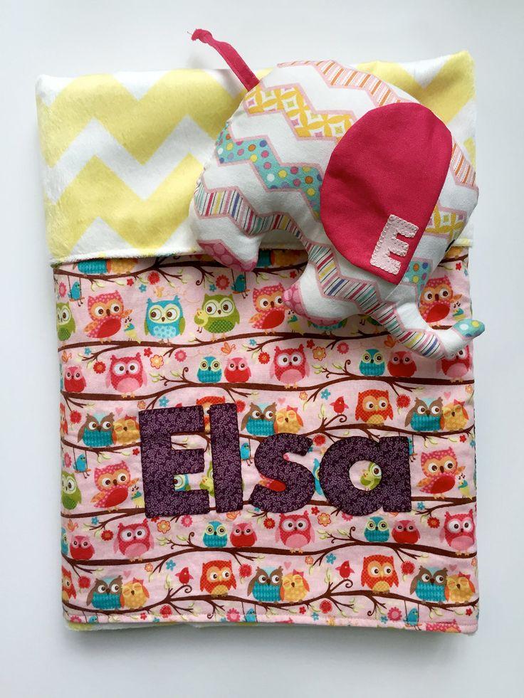 26 best handmade baby blankets images on pinterest handmade baby owl minky baby blanket personalized gift set stuffed elephant toy chevron elephant plush negle Images