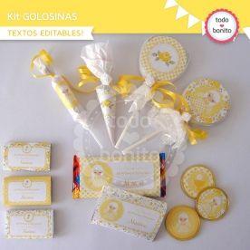 Shabby Chic amarillo: kit etiquetas de golosinas