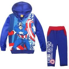 Kid Boy Captain America Superhero Long Hoodie Coat   Pants Outfit Set Size 4-5 Y