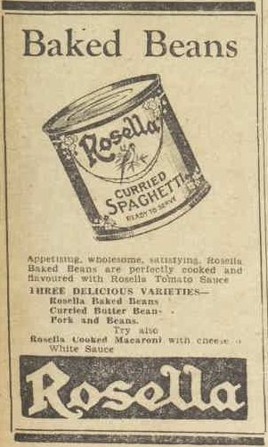 Rosella baked beans advertisment from the 1950s.