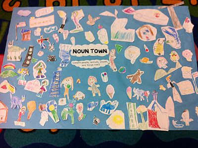 We also made a noun town. I had lots of small white construction paper squares and let the kiddos draw their hearts out. They loved this activity and came up with some amazing nouns. I especially liked the things they drew for people to hold