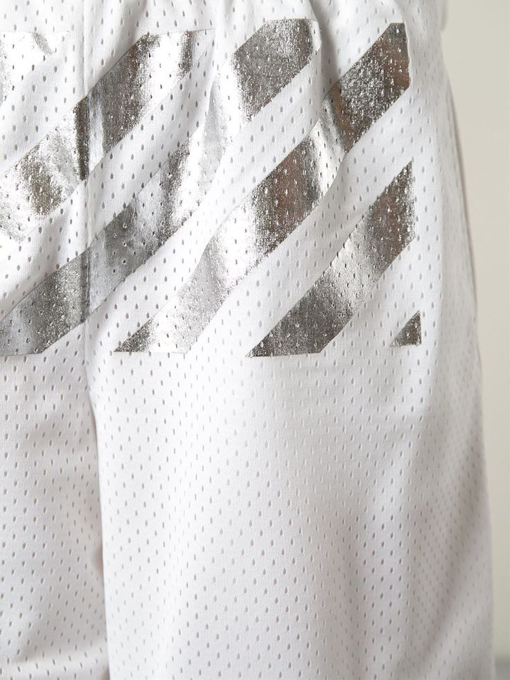 Off-white Metallic Stripe Perforated Track Shorts - Patron Of The New - Farfetch.com