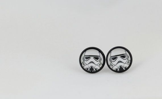 Bad Guy Stud Earrings - Storm Trooper - 12mm Stud Earrings - Glass Cabochon Earrings - Space Earrings - Star Wars - Rogue One - Sci Fi by BestFiveCentCoffee