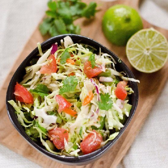 Cilantro Lime Coleslaw. Super clean and refreshing flavor. Great as a dip for tortilla chips or as a side or sandwich/taco topping.