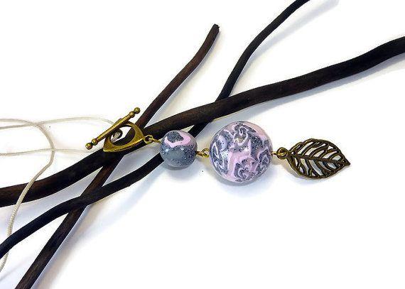 Collier sautoir réglable avec perles au motifs de par 1fil2perles