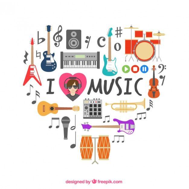 Coração feito dos ícones musicais
