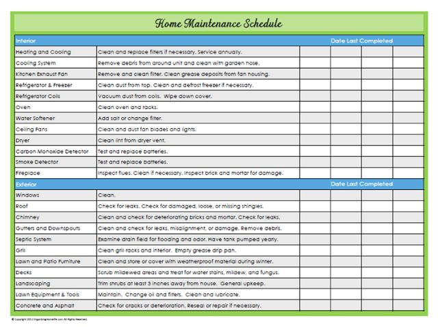 home maintenance schedule #organizing