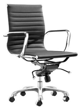 SKU#: 037965  Dimensions: 20W x 24D x 38.5H  Showcase: Description: Modern home office chair with adjustable height and locking tilt. Available in 6 colours.