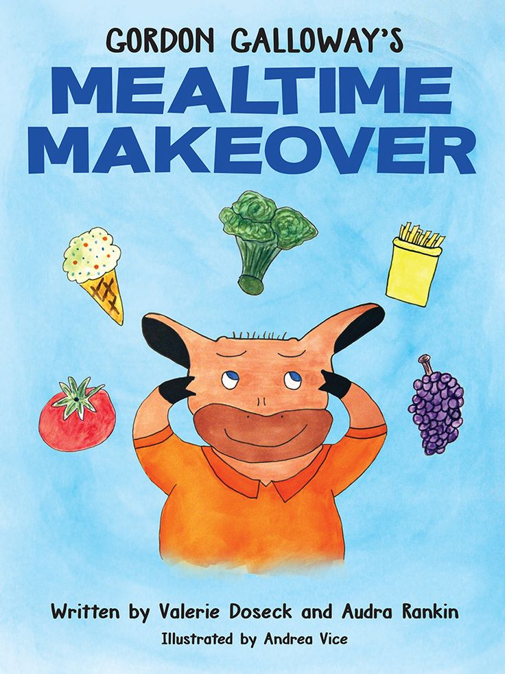 Gordon Galloway's Mealtime Makeover. By Valerie Doseck and Audra Rankin, illustrated by Andrea Vice. Gordon Galloway is a young cow who loves sugary sweets and struggles with healthy lifestyle habits. Here, readers follow Gordon to school and on a farm adventure that provides an introduction to healthy lifestyle changes and gives parents an opportunity to discuss ways the whole family can make healthier choices, too.
