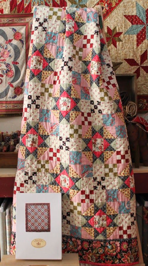 Petra Prins blog The quilt shown is a mystery quilt called M is for Mystery by Homestead Hearth. It is a BOM beginning Jan. 2014. Perhaps at the end of the year, just the pattern will be available.