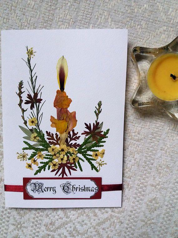Christmas candle design card. Handmade pressed flower card.