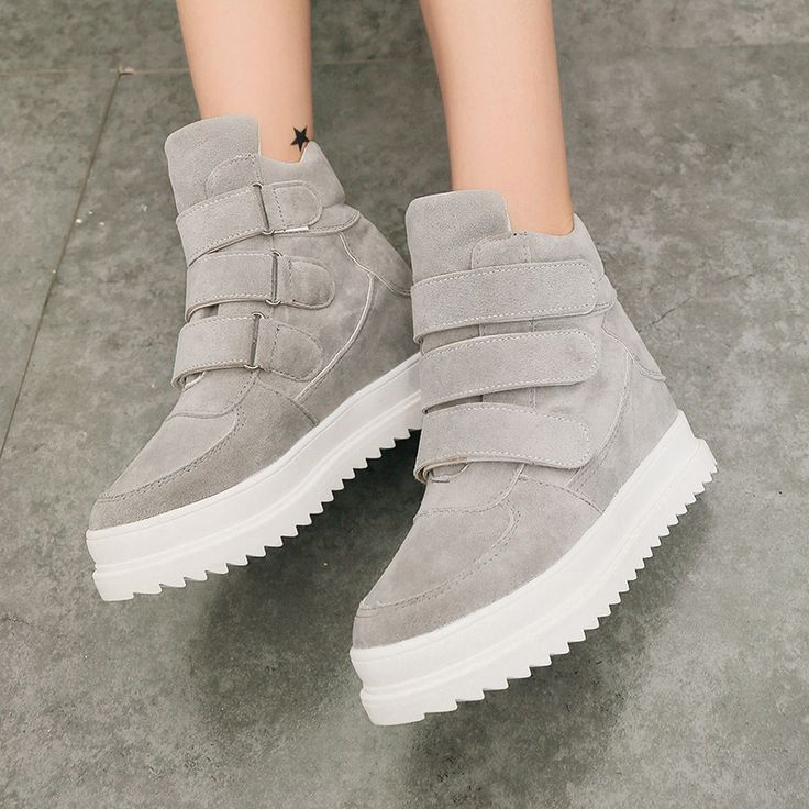 Cheap shoe zone shoes, Buy Quality shoes purple directly from China shoe dog running shoes Suppliers:  New 2016 Women Ankle Boots Scrub Leather Elevator Casual Platform Shoes Thickening Women'S High-Top Shoes Gray Black Re