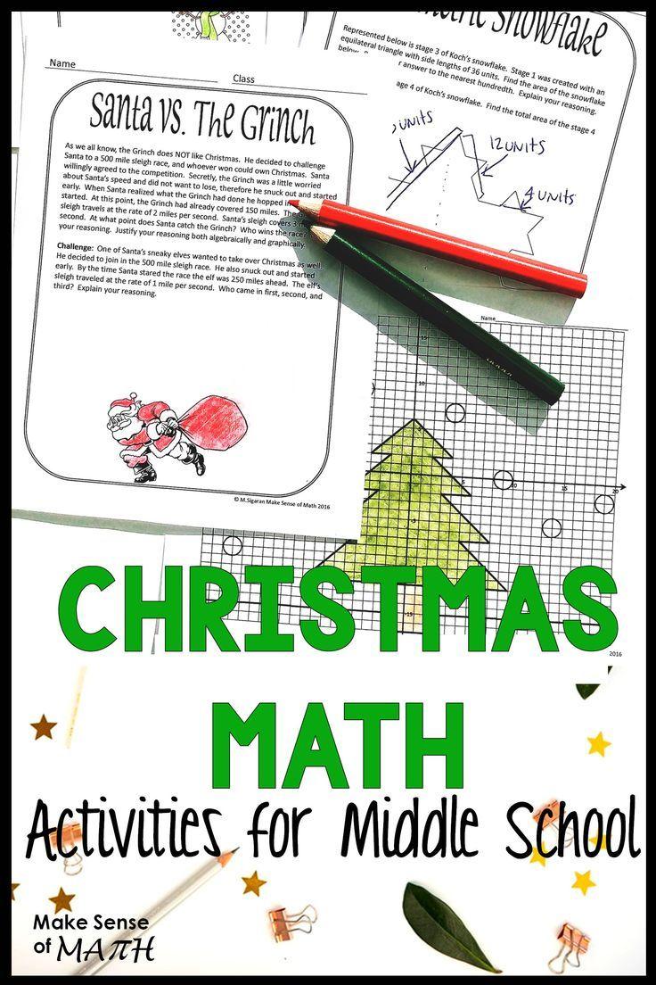 Fun Christmas math activities for middle school math. Better than a  worksheet [ 1104 x 736 Pixel ]