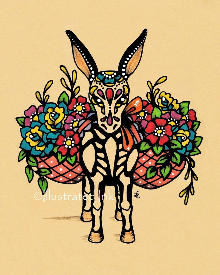 Day of the Dead BURRO Donkey Dia de los Muertos by illustratedink