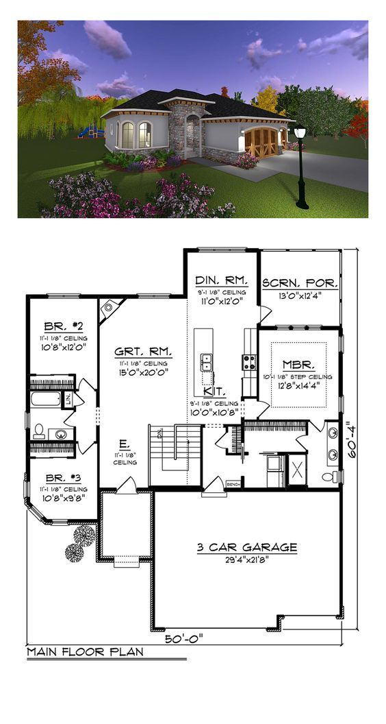 The one 75234 total living area 1626 sq ft 3 for Italian farmhouse plans