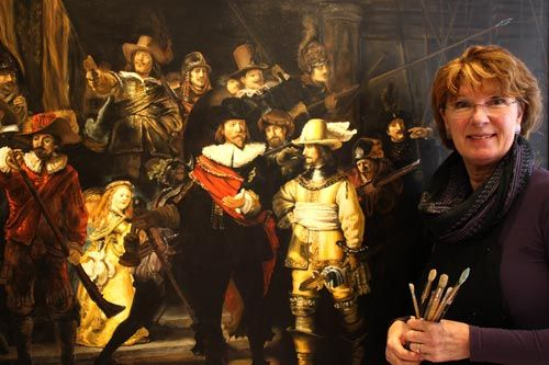 The Nightwatch by Rembrandt and copied by Jean Elliot. It is smaller than the original but still an impressive size. No need to go all the way to the Rijksmuseum in Amsterdam to take a look at it, you can see it in The Hague at Studio Jean.