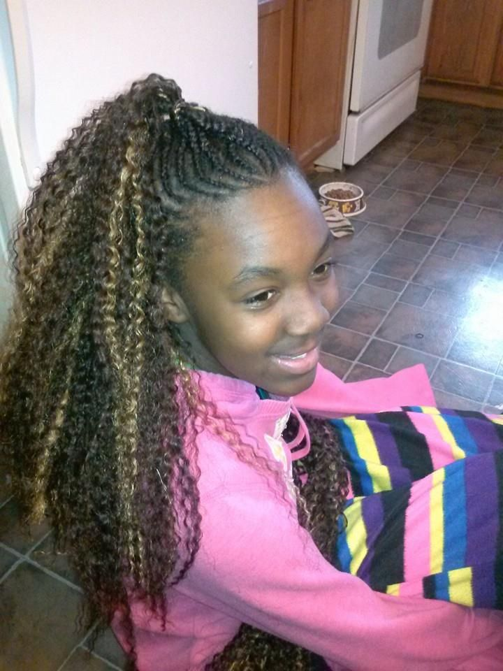Front View Of Her Mohawk Cornrow Styles For Little