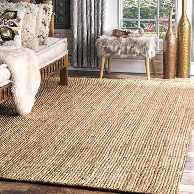 Amazon Com Nuloom Hand Woven Casual Jute Braided Area Rug Natural 9 X 12 Kitchen Dining Sisal Area Rugs Jute Area Rugs Jute Rug