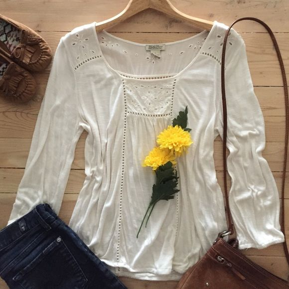 | Lucky Brand Top Sweet soft and creamy boho top with 3/4 sleeves.  Banded around bottom and sleeves.  100% rayon.  In gently used condition. Lucky Brand Tops