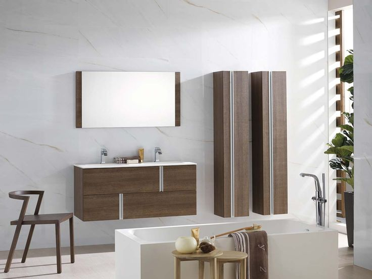 Master Vanity And Matching Vertical Shelves Porcelanosa