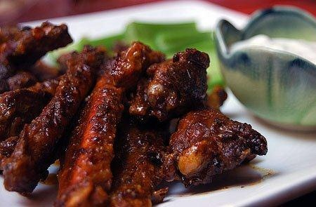 DCD Savory Buffalo Wings- try this recipe that uses our Chocolate Rub and BBQ Sauce!