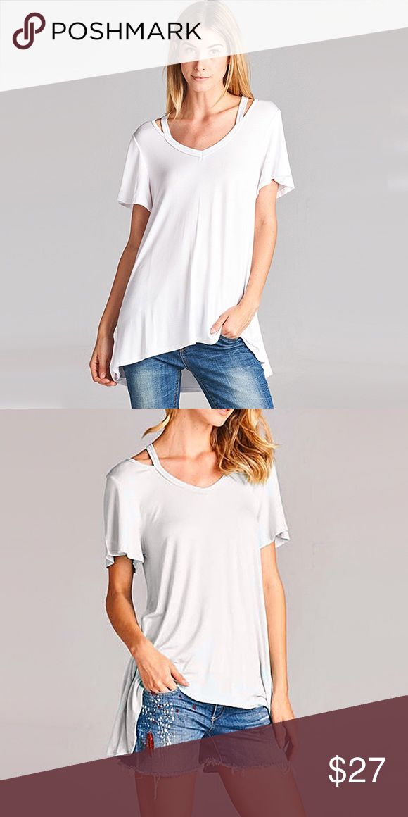 """White Cut-Out Laid-back Tee ❤️ BUNDLES  ❌ NO TRADES  ❌ NO Low balling!  • Relax, Loose fit • Lightweight  * MEASUREMENTS: • Size: Small - Front Length: 25.5"""" Approx - Back Length: 28.5"""" Approx •  • Size: Medium - Front Length: 26.5"""" Approx - Back Length: 29.75"""" Approx •  • Size: Large - Front Length: 27.15"""" Approx - Back Length: 30.15"""" Approx Tops Tees - Short Sleeve"""