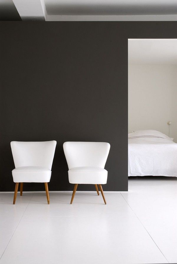 --|: Interior Design, Chair, Black Walls, Inspiration, Black And White, Black White, Space, Dark Wall, Bedroom