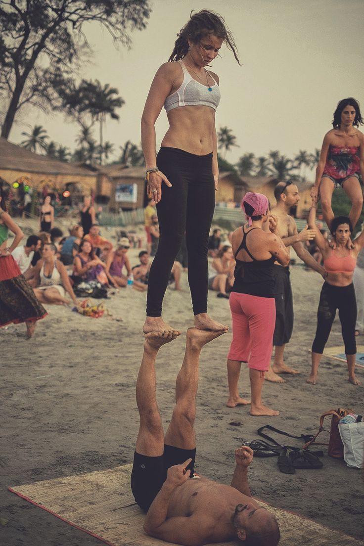 "veganbaby: "" the-art-of-yoga: "" AcroYoga in Arambol, India Photographer Yogi Casino (www.casinonelson.tumblr.com) ॐ☯The Art of Yoga☯ॐ "" I will do real acro one day """