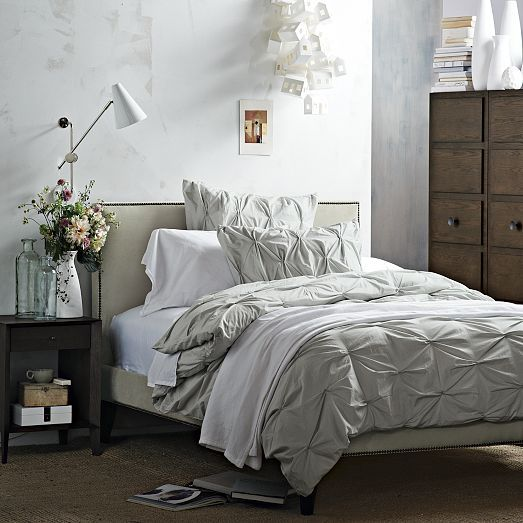 Narrow-Leg Nailhead Upholstered Bed Frame | west elm