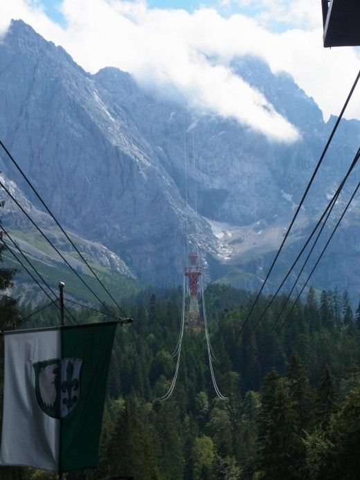 The Eibsee cable car on the way up to the Zugspitze (highest mountain in Germany)