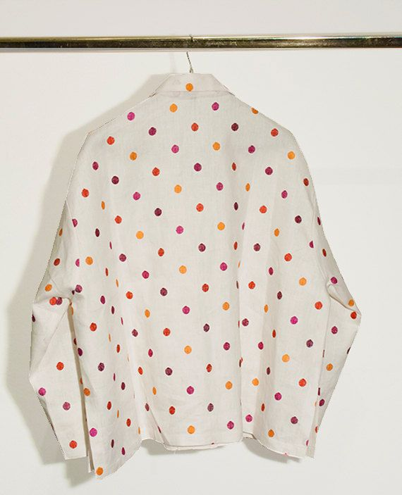 One button pois jacket in linen by DominoModa on Etsy