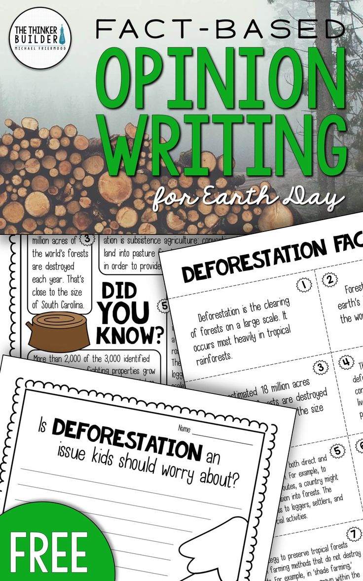 Opinion Writing for Earth Day, with carefully chosen facts included for students to analyze, discuss, and use to support their opinion to an engaging focus question: Is deforestation an issue kids should worry about? Totally FREE. Gr 3-5