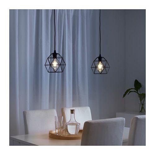 BRUNSTA Pendant lamp shade, black, Length: 8