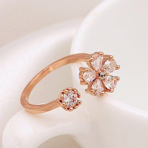 Latest Gold Plated Rhinestone Daisy Opening Ring