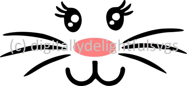 Full Bunny Face Svg Bunny Face Silhouette Projects