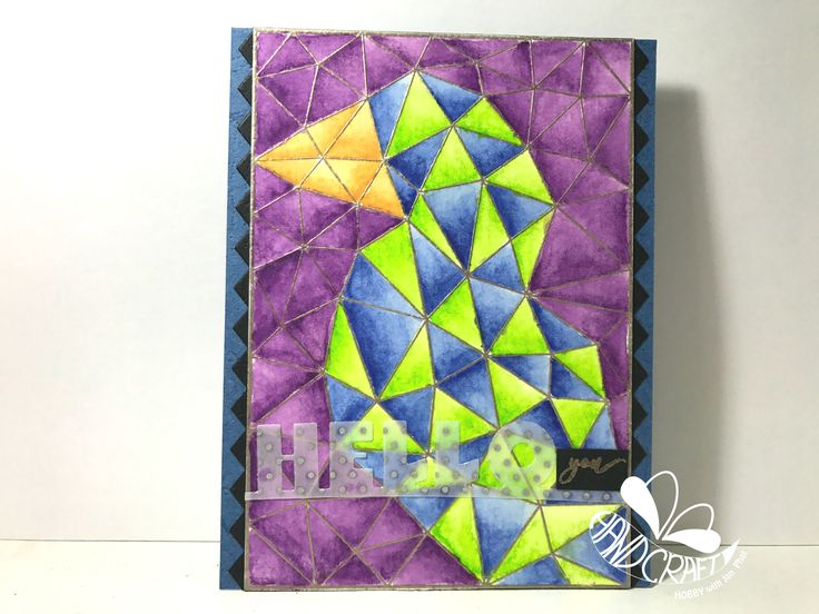 Krumspring stamp - One Triangle at a Time with inktense watercolor pencils