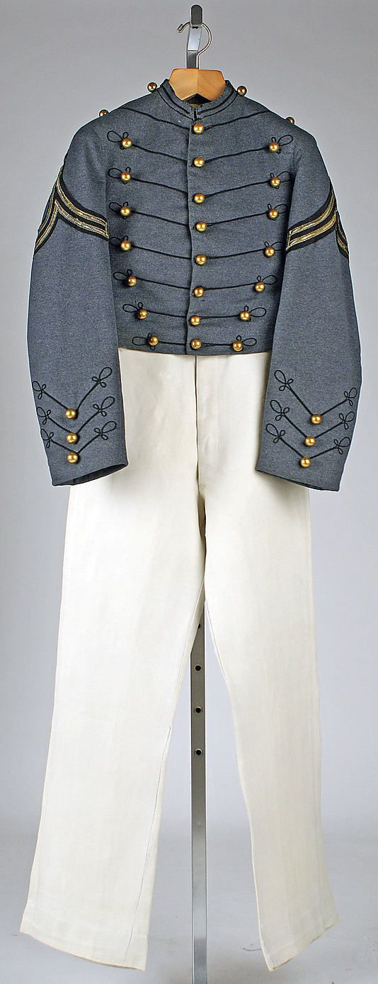 U.S. Military uniform, 1880-1884 Although there are no descriptive notes for this garment, it appears to my eye to be the uniform of a Military Academy Cadet