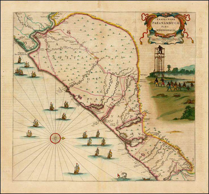 North America Map In 1750%0A Gaspar Barleus   Guillaume Blaeu  Praefecturae Paranambucae pars  Meridionalis