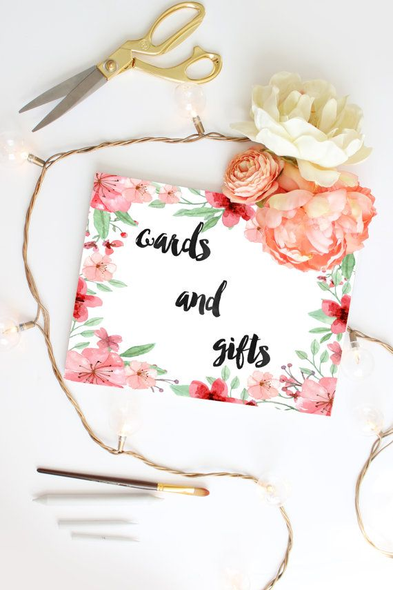 Wedding cards and gifts sign Watercolor flowers Wedding DIY  printable, perfect for framing and decorating the reception