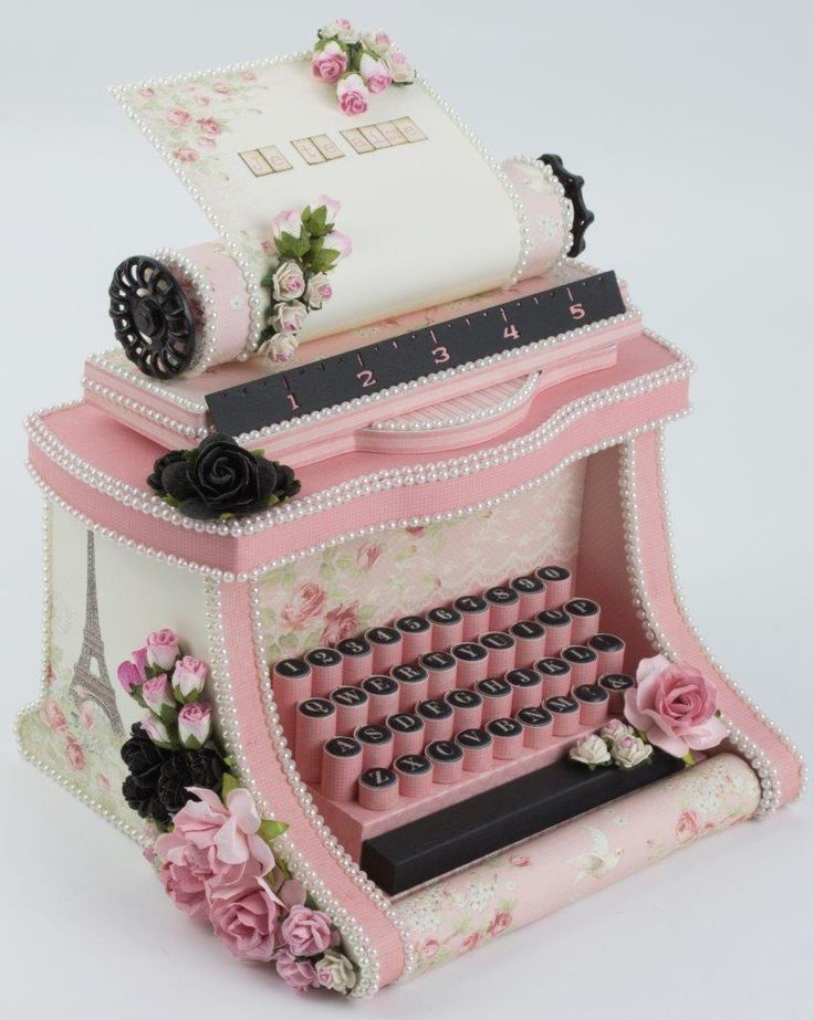 I've been waiting to make this project with just the right style paper and Paris Flea Market was it! This typewriter box was completely handmade using thick poster board and the lovely pinks from the collection. The hinged back can be opened to reveal a box.There are so many crafting…