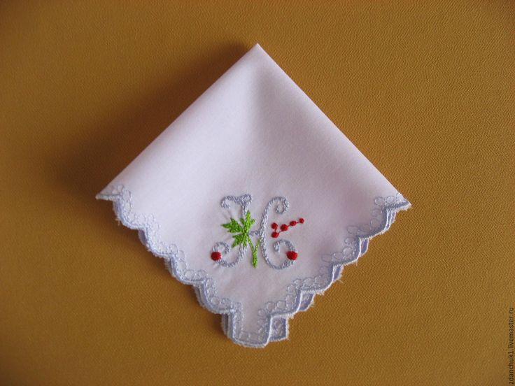 """Купить Платочек носовой буква """"Н"""". - платочек с вышивкой, гладь, алфавит, буквы, буквы на заказ"""