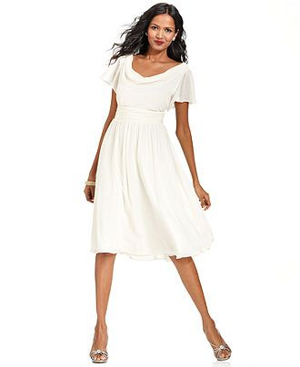 """Rehearsal dinner or """"going away dress"""" option! Reminds me of the Sound of Music for some reason...  SL Fashions Dress, Short-Sleeve Cowl-Neck - - Macy's"""