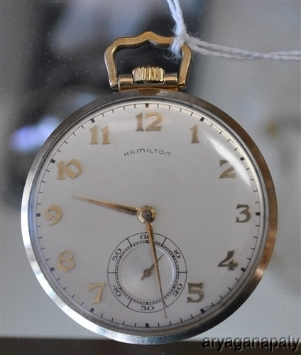 Fabulous Antique 17 Jewel Hamilton Pocket Watch White Face NICE