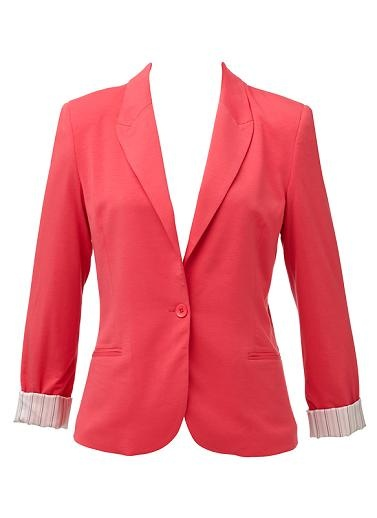 Polyester/Viscose/Elastane blend jersey blazer. Light weight fabrication, fitted silhouette and fully lined. Available in multiple colours as shown.