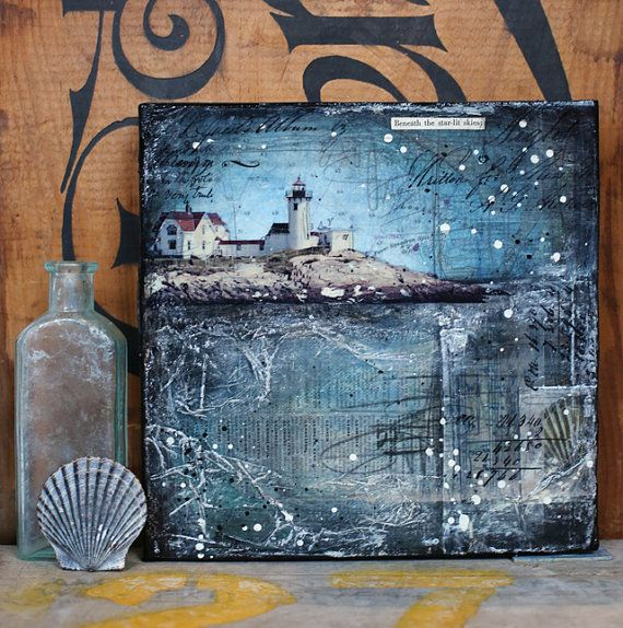 "Beneath The Starlit Skies - 8"" x 8"" original mixed media on canvas - nautical lighthouse beach collage with typography text"