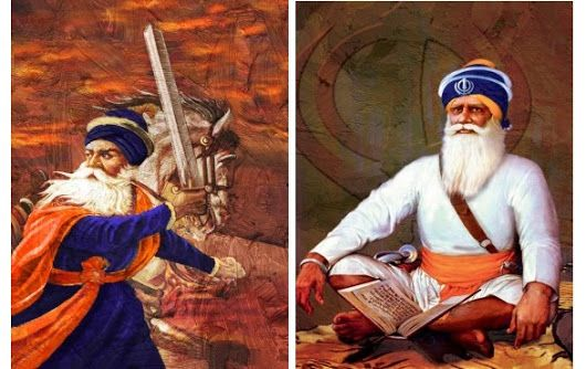 Baba Deep Singh is one the most hallowed martyrs in Sikhism . He is remembered for his sacrifice and devotion to the teachings of the Sikh gurus. This painting shows him in full traditional attire sitting in front if the holy book.