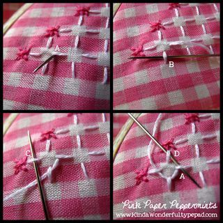 4 panel guide to creating a lace stitch on pink gingham