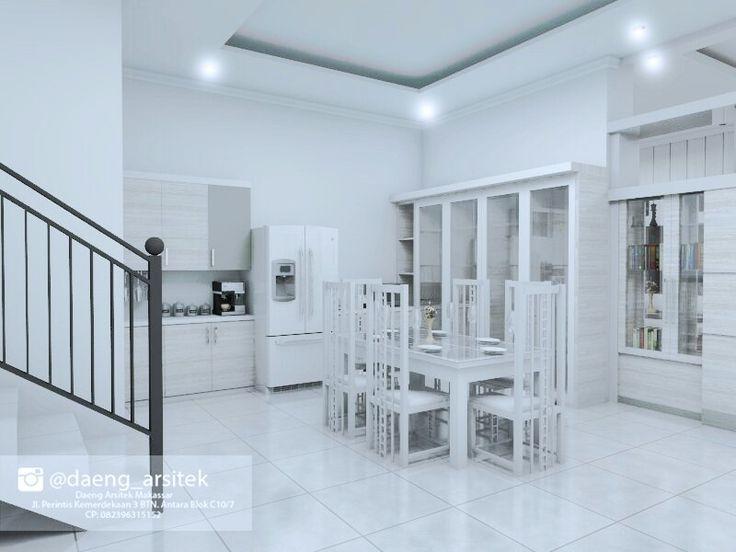 Suasan putih ruang makan sekaligus dapur